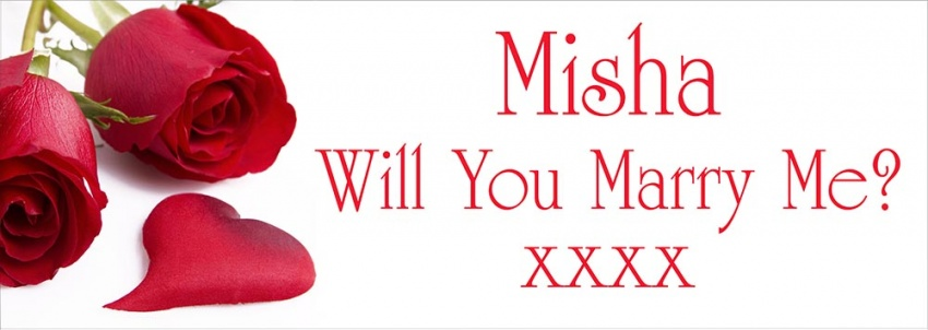 Romantic Marry Me Proposal Banner with red roses