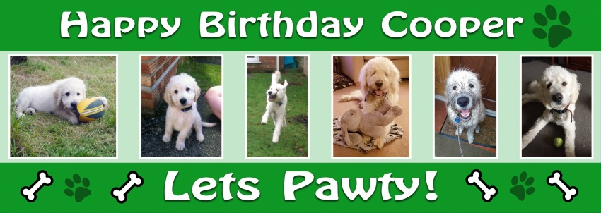 Six picture dog birthday banner