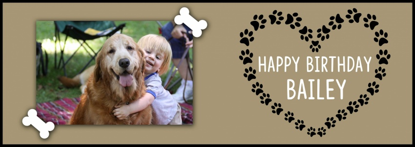 Dog Birthday Banner With Single Large Photo
