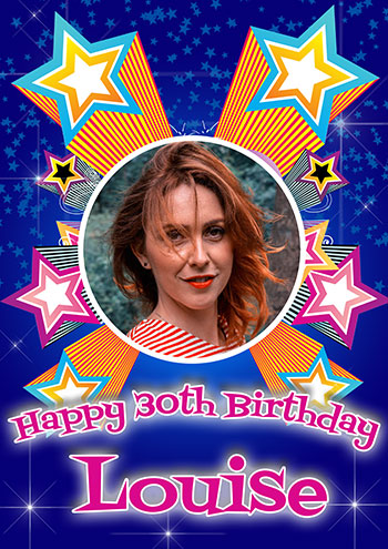 Birthday poster with photo and stars