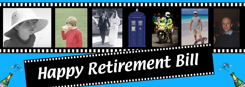 Happy Retirement banner with 5 or 6 photos