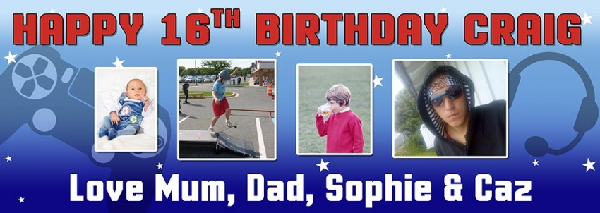 Teenage Gamer Birthday Banner  with 4 photos