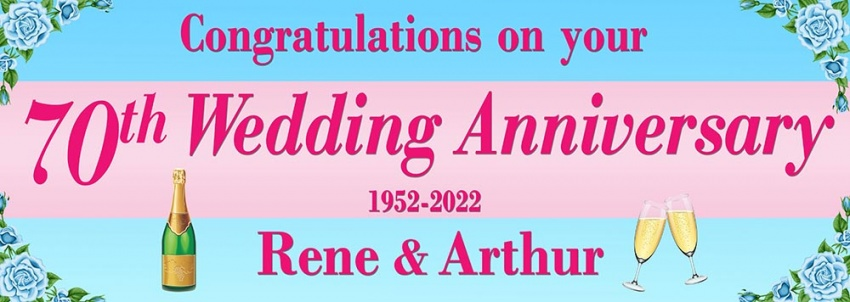 70th Wedding Anniversary  Congratulations Banner