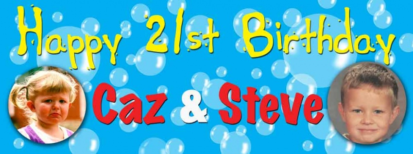 Twins birthday banner with 2 photos