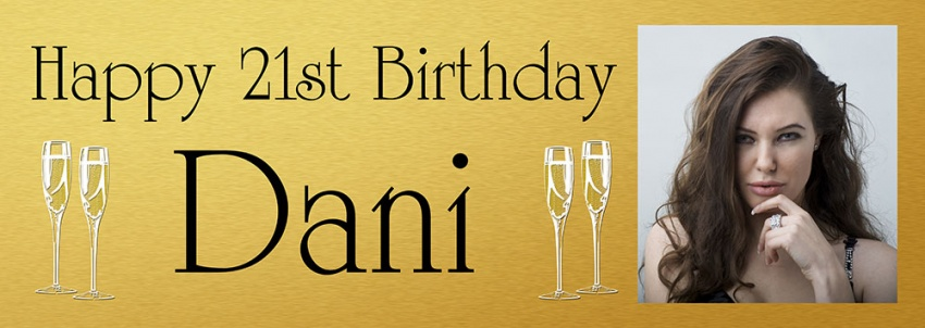 Gold background birthday banner with large photo