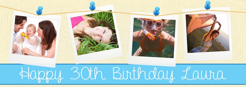 Pinned photos birthday banner