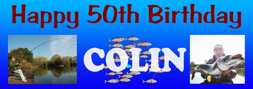 Fishing birthday banner with 2 photos