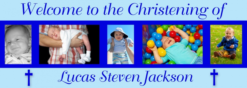 Christening Banner including 6 photos