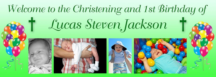Christening and Birthday banner with photos