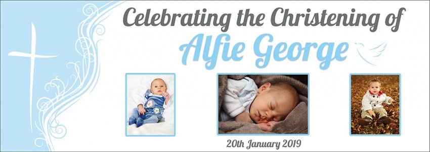Christening Celebration Banner for boy with 3 photos