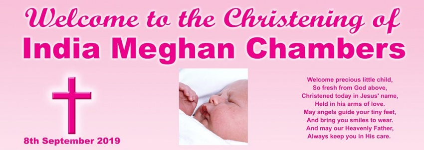 Girls Christening Banner with Prayer
