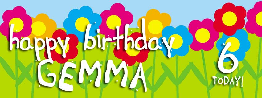 Flowers background childs birthday banner
