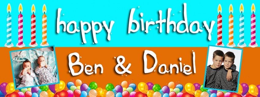 Twins Birthday banner with colourful background