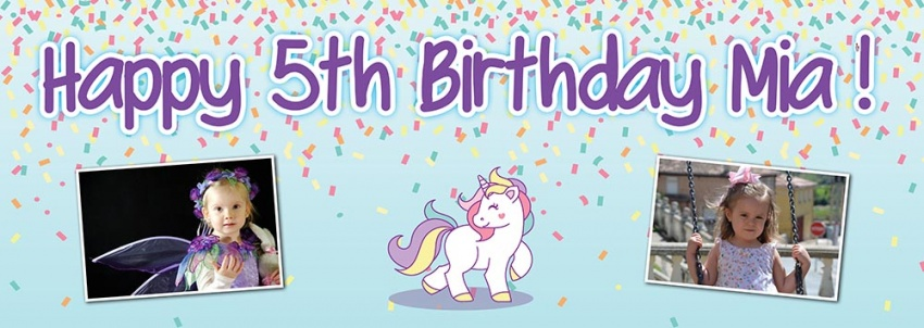 Childrens Unicorn  Birthday Banner
