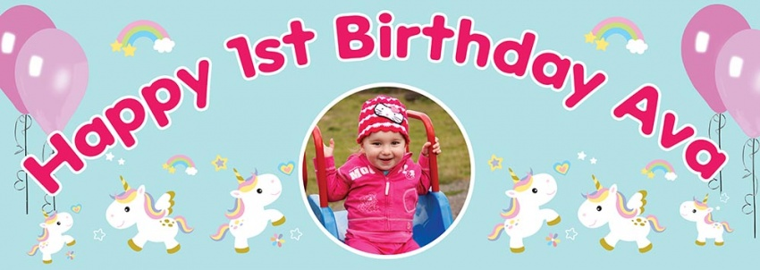 Baby Unicorn Birthday Banner