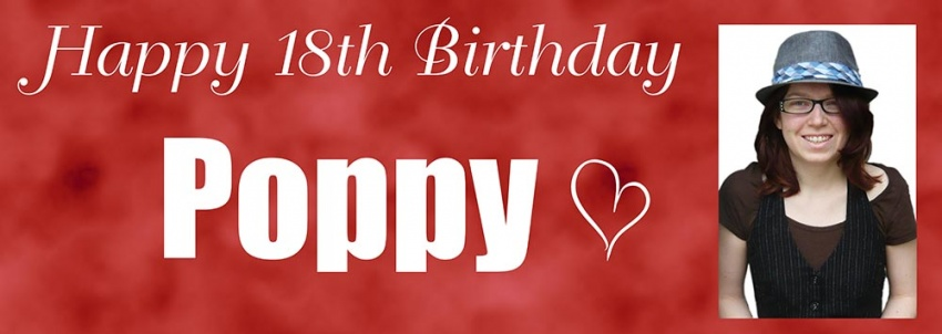 Cloudy background birthday banner with photograph