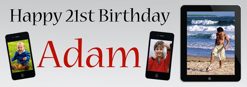 Birthday Banner with 3 photos in a mobile phone and a tablet