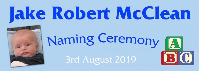 Naming Ceremony Banner in Blue