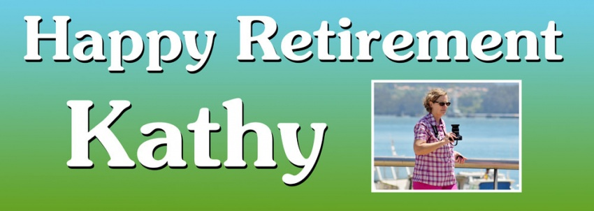 Happy Retirement banner with large photo