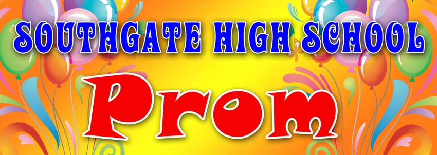 School Prom banner with balloon background