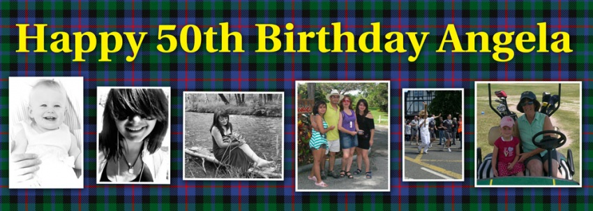 This is your life Birthday Banner 6 photos on tartan pattern