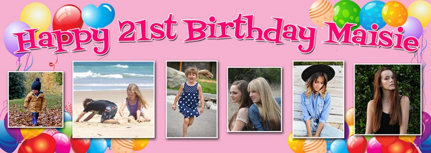 Balloon background birthday banner with up to 6 photos