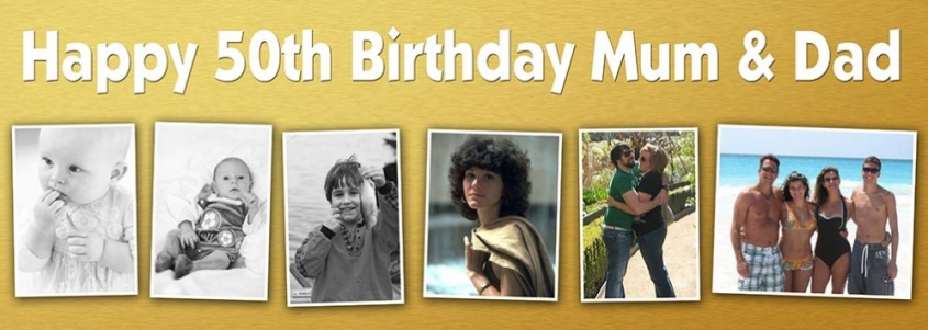 6 photo birthday banner with gold background