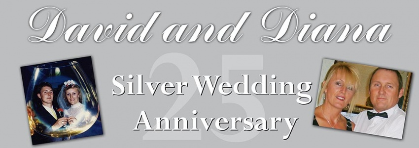 Silver Wedding Banner with 2 photos