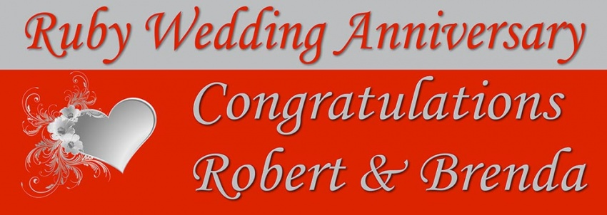 Congratulations Ruby Wedding Anniversary Banner