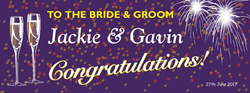 Champagne and fireworks Wedding Banner with purple background