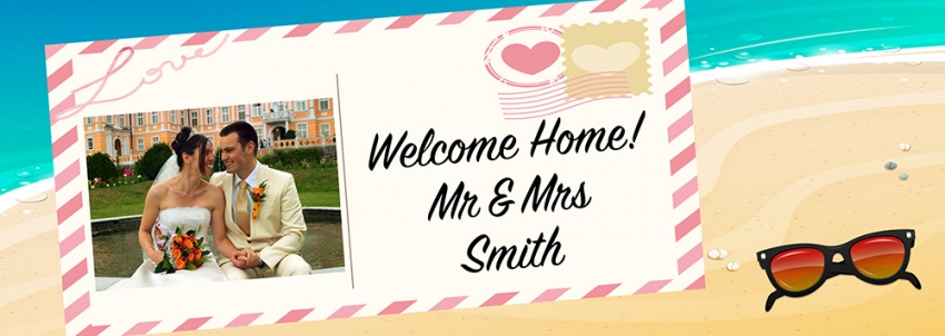 Welcome Home Banner on postcard with tropical theme